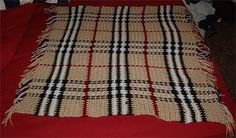 Burberry plaid blanket, free pattern by Faythe Saxton.  Crocheted on a mesh foundation of horizontal stripes - DC, CH1, sk stitch; repeat.  Then strands of yarn (or chains) are woven in vertically the same way each time (not alternating).  *Much* easier than it looks. (Use HDC for mesh, Homespun for weaving)  . . . .   ღTrish W ~ http://www.pinterest.com/trishw/  . . . .   #crochet #afghan #throw