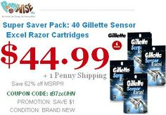 Save 62% Super Saver Pack: 40 Gillette Sensor Excel Razor Cartridges Model GSE40 Offer for today only..!! Hurry Up..!!