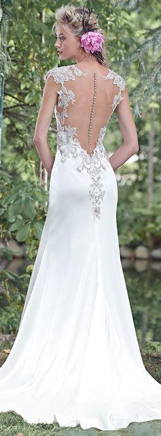 Bellethemagazine wedding dresses | Maggie Sottero 2016 Collection | Floor Ivory Sheath V-Neck $$ ($1,001-2,000)