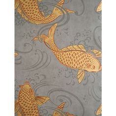 Osborne Little Derwent Ornamental Koi Carp in a swirling grey pool. This oriental style wallpaper is named after the River Derwent, West Cumbria. Chinoiserie, Bathroom Wallpaper Fish, Goldfish Wallpaper, Wallpaper Toilet, Osborne And Little Wallpaper, Arte Wallcovering, Tapete Gold, Deco Nature, Koi Carp