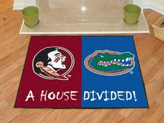 No one ever said your household had to cheer for only one team. Keep this Florida State - Miami College House Divided Mat by Fanmats in your home to let your loved ones and guest know your team is not to be reckoned with! Vikings Packers, Nfl Packers, Minnesota Vikings, Seminole Florida, Florida State Seminoles, Florida Gators, Cheap Large Area Rugs, College House, Miami College