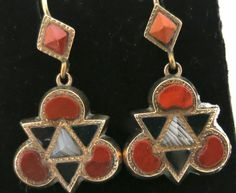 Rare Victorian Scottish Agate Earrings in Gold from thepearl on Ruby Lane