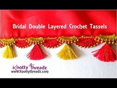 How to make Double Layered Crochet Saree Tassels Saree Kuchu New Designs, Saree Tassels Designs, Wedding Saree Blouse Designs, Fancy Blouse Designs, Bead Crochet, Beading Tutorials, Crochet Designs, Bridal, Youtube