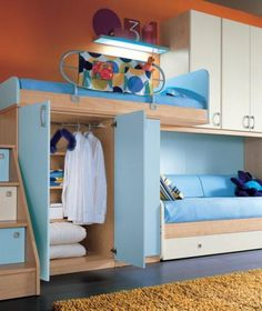 Bunch of tween / teen room ideas - modern furniture, love the beds with wheels, flexible storage to supplement a closet.