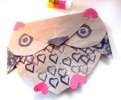 owl made from hearts