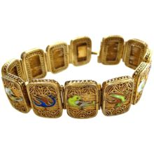Chinese Sterling Gilt Enamel Bird Bracelet with Filigree