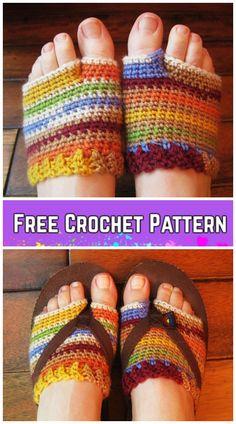 Most current Free Crochet socks for flip flops Ideas Rainbow Flip Flo p Socklets Crochet Pattern Free Crochet Sandals, Crochet Boots, Crochet Gloves, Crochet Slippers, Knit Crochet, Felted Slippers, Crochet Pattern Free, Crochet Patterns, Crochet Ideas