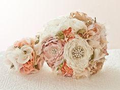 Broches de tela boda ramo ramo de broche de tela flor por Cultivar, $350.00