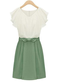 Vogue Lotus Leaf Sleeve Patchwork Chiffon Dress. Just so pretty. Soft or True Summer. Seems a bit floppy for a G, despite the bow. There's not enough snap. Perhaps a YinNatural?