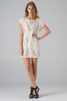 Lavishville - Deep V's Sequined Short Sleeve Dress (Beige), $44.00 (http://www.lavishville.com/deep-vs-sequined-short-sleeve-dress-beige/)