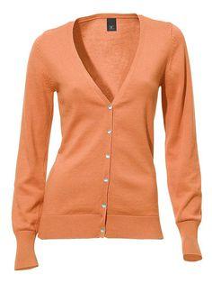 Schicker Cardigan-Style in tollen Trendfarben – ideal zu kombinieren! Feine Rippenbündchen. Länge ca. 60 cm. Figurbetonte Form. 100% Baumwolle. Grau-melange: 50% Baumwolle, 50% Polyacryl. Waschbar....