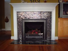 Glass Tiled High Efficiency Gas Log Fireplace with Decorative Molding