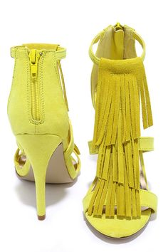 Madden Girl Demiiii Yellow Suede Leather Fringe Heels at Lulus.com!