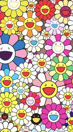 Cartoon Wallpaper, Hype Wallpaper, Retro Wallpaper, Aesthetic Iphone Wallpaper, Flower Wallpaper, Aesthetic Wallpapers, Collage Mural, Photo Wall Collage, Takashi Murakami Art