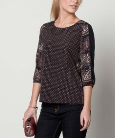 Another great find on #zulily! Navy Floral Three-Quarter Sleeve Top #zulilyfinds