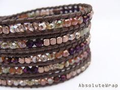 Orange green purple crystal wrap bracelet with by AbsoluteWrap