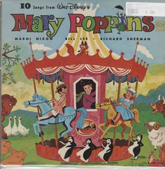 Mary Poppins 10 Songs From LP Vinyl Record Album Disneyland Songs From Mary Poppins, Walt Disney Mary Poppins, Mary Poppins 1964, Disney Musik, Vintage Vinyl Records, Original Song, Vintage Disney, My Childhood, Vintage Toys