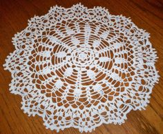 "Beautiful Vintage Hand Crocheted Lace Doily 15"" Diameter Estate Item White Color"
