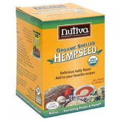 Nutiva Organic Hemp Seed Shelled Packets Case of 12 1.1 oz. This hemp product is edible and you can sprinkle it into your drinks and stuff. It costs 15.97 for one case.