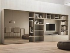Lacquered TV wall system SPEED I by Dall'Agnese design Imago Design, Massimo Rosa Tv Design, Shelf Design, House Design, Living Room Wall Units, Living Spaces, Shelf Furniture, Furniture Design, Tv Wall Shelves, Support Tv