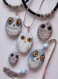 мастер класс росписи по камню http://moda-platya.ru/post282500622/?upd... Rock owl stone jewelry!