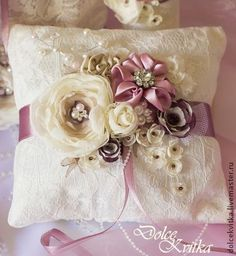 Bridal Ring Bearer Pillow and Decorations Set by Dolce Kvitka) Wedding Ring Cushion, Wedding Pillows, Ring Bearer Pillows, Ring Pillows, Handmade Pillows, Decorative Pillows, Pillow Inspiration, Silk Ribbon Embroidery, Fabric Flowers
