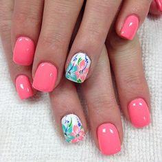 Spring Nail Art, Spring Nails, Summer Nails, Fall Nails, Nail Polish Designs, Nail Art Designs, Beach Nail Designs, Hawaiian Nails, Beach Nails