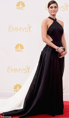 Black and white delight: Lizzy Caplan sported a halterneck dramatic Donna Karan Atelier dr...