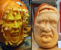 Busting out and Exchangable Brain Pumpkin Carving/Sculpture By Ray Villafane