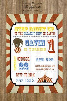 Circus Birthday Invitation 5x7  DIGITAL by SimplyCreateDesigns, $9.44