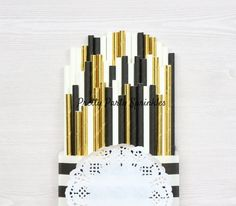 Solid - Gold Foil, Black, White Straws, Great Gatsby, 40 50 60 Guys Birthday, Graduation, Hollywood Glamour, New Years Eve, Black and Gold