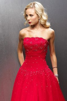 Strapless Prom Ball Gown Lace and Tulle Empire Waist  by mydlass, $167.00