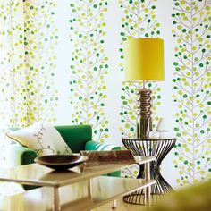 Shop for Wallpaper at Style Library: Berry Tree by Scion. A simple stem outline with loosely drawn berries in blended tones creates the overall effect . Interior Wallpaper, Painted Rug, Decor, Wallpaper, Home Decor Items, Home Wallpaper, Green Curtains, Tree Wallpaper, Wall Wallpaper