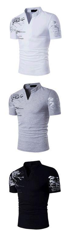 Men s Sports Active   Boho Cotton Slim T-shirt - Geometric Print Stand    Short Sleeve ad2a9f642d