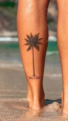 Palm Tattoos, Beachy Tattoos, Anklet Tattoos, Mini Tattoos, Body Art Tattoos, Sleeve Tattoos, Fox Tattoos, Deer Tattoo, Tattoo Tree