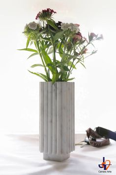 """""""Bernini"""", elegant and modern artistic #vase of flowers in white Carrara marble, a touch of elegance in your home that can not miss.  The Carrara marble is  a product of nat...  #EtsyGift #handmade  #craft # art #marble"""