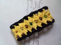 Yellow and Black Handmade Crochet Bracelet. Fits all.