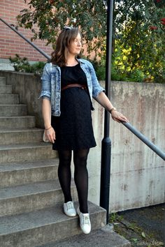 #maternitystyle ##denimjacket #blackdress #winterstyle #week40