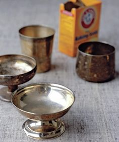 Totally trying this out tonight on my silver basket I got from my parents! - Baking soda and silver bowls