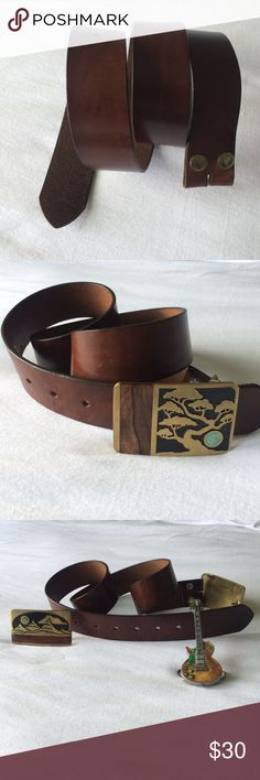 """new listing beautiful brown leather belt the perfect belt to go with a classic pair of Levi's or low rise Miss Me jeans. 1.5"""" wide. USA made belt of Italian leather dyed a medium brown. total length is 38.5"""". 6 holes total 1st hole at 29.5"""" , 4th hole at 32.5"""". Do you have a great buckle or want to buy a great buckle but have no belt? well... what are you waiting for? gently used. Accessories Belts"""