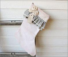 vintage ticking Christmas stocking