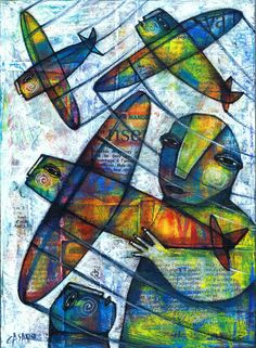 THE PLANES by Dan Casado acrylic and collage on wood now available in my eBay shop http://stores.ebay.com/Casado-and-Sisi-art-studio