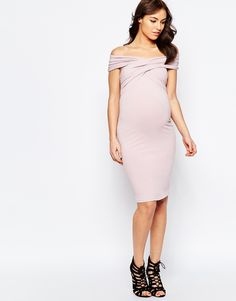 ASOS Maternity Midi Body-Conscious Dress With Twist Off Shoulder