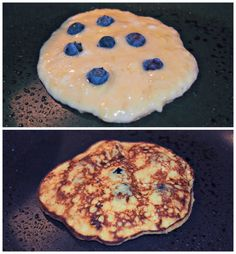 Banana based pancake recipe.  No flour, no sugar, no oil...just 3 healthy ingredients. banana, egg and blueberries!