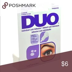 Duo individual lash adhesive 7g -- 0.25 oz Applying individual lashes is the perfect way to customize any natural or glamorous look. To achieve the best result, they require a clear and strong adhesion without leaving clumps or any residue. Duo individual lash adhesive comes in a dropper bottle to eliminate mess and waste. It simply the most convenient complement to any individual lash style.  Features Use with individual lashes Dries invisibly World's no.1 Adhesive Duo Makeup False…