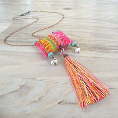 Bohemian Tassel Necklace, Colorful, Eclectic, Pendant with Vintage Hill Tribe Embroidery Textile Jewelry, Fabric Jewelry, Jewelry Art, Jewelry Accessories, Jewelry Design, Fabric Necklace, Tassel Necklace, Necklaces, Handmade Copper