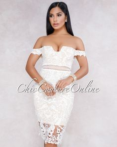 ef963ab18839 Chic Couture Online - Fiyona White Off The Shoulder Crochet Mini Dress