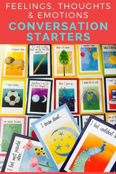 These feelings, thoughts and emotion cards are a great tool to build rapport and form connections wi Emotions Activities, Icebreaker Activities, Counseling Activities, School Counseling, Emotions Cards, Conversation Cards, Guidance Lessons, Social Emotional Learning, Yoga For Kids