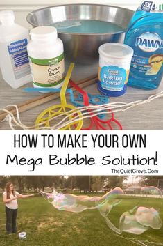 Learn How to make your own MEGA Bubble Solution (and bubble wand) for hours of outside fun with your kids this coming summer! Homemade Bubble Wands, Homemade Bubbles, Outdoor Activities For Kids, Summer Activities, Sensory Activities, Bubble Solution Recipe, Homemade Bubble Solution, Projects For Kids, Crafts For Kids