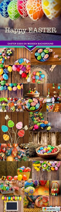 Easter eggs on wooden background 25x JPEG  stock images